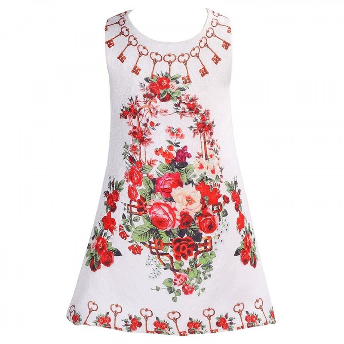 Stylish Dress White With Printed Flowers