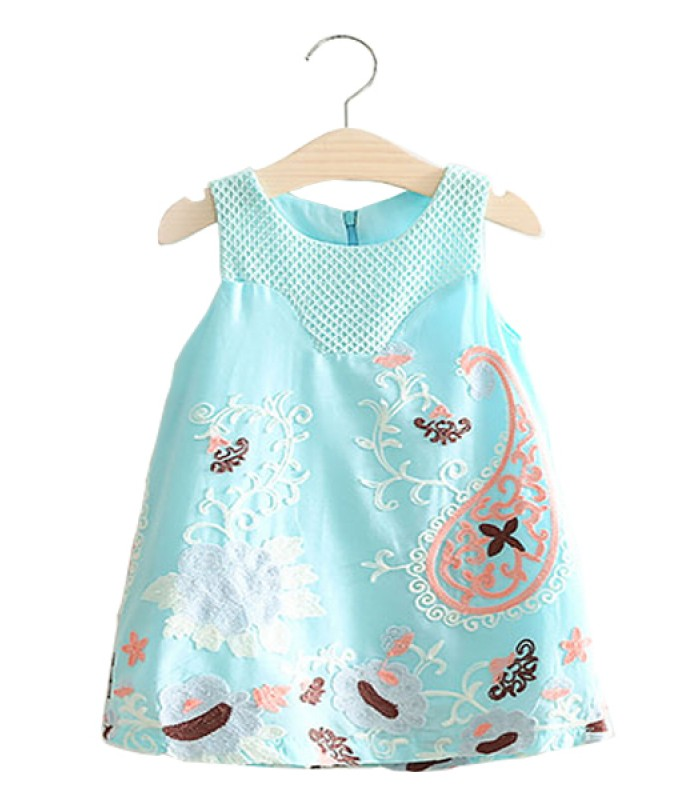 Light blue embroidered summer dress