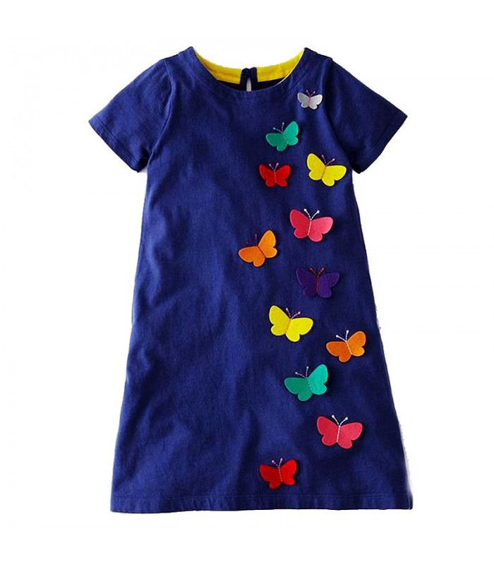 Blue dress with applied butterflies